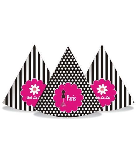 Prettyurparty Paris Party Hats- Pink and Black