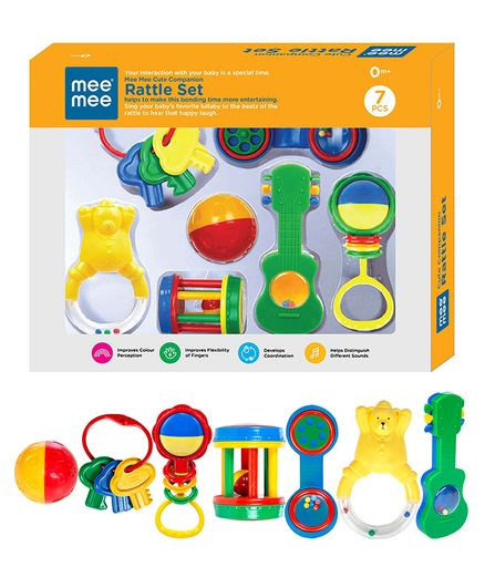 Mee Mee Infant Rattle Set of 7 (Color & Design May Vary)