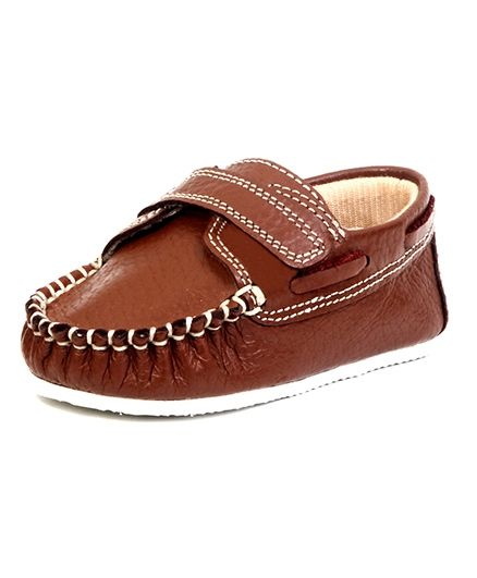 Beanz Leather Shoes With Velcro Closure - Brown