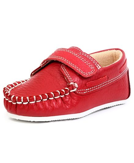Beanz Leather Shoes With Velcro Closure - Red