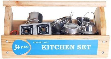 Little Genius Steel Kitchen Set With Wooden Container Online India