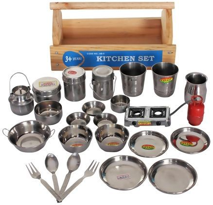 Little Genius Steel Kitchen Set With Wooden Container Online India