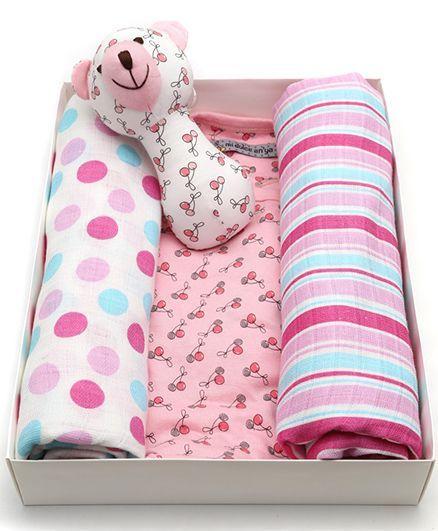 Mi Dulce An'ya Organic Cotton Gift Set Pack of 4 - Pink