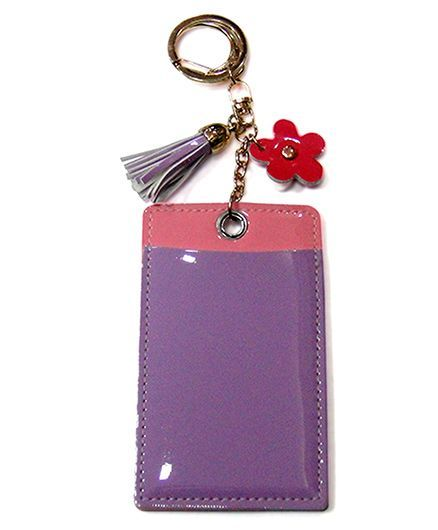 EZ Life Card Holder Keychain With Flower - Lilac Purple