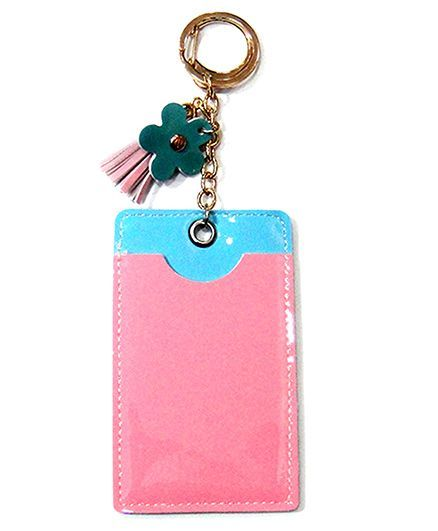EZ Life Card Holder Keychain With Flower - Baby Pink