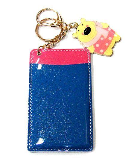 EZ Life Bear Card Holder Keychain - Navy Blue