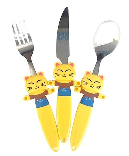 EZ Life Cute Cat Funky 3 Piece Kids Cutlery Set - Yellow