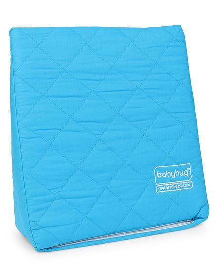 Babyhug Maternity Wedge Pillow With Quilted Cover - Blue