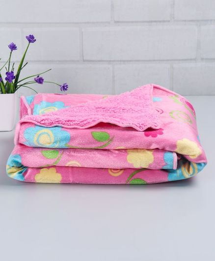 Babyhug Sherin & Poly Wool Blanket Floral Print - Pink
