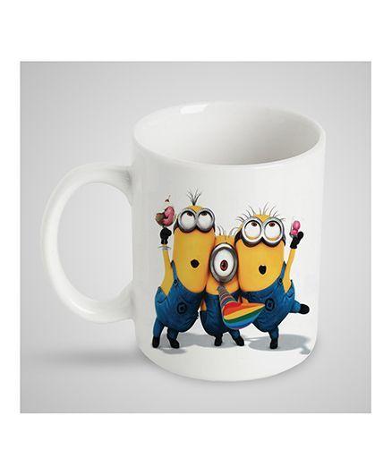 Stybuzz Kids Ceramic Mug Minions Print White & Yellow FCMG00009 - 300 ml