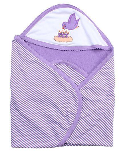 Tinycare Hooded Bath Towel Bird Embroidery - Purple