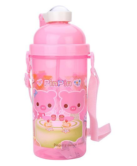 Sipper Water Bottle With Push Button Lid Pink - 500 ml