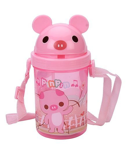 Mouse Shape Lid Sipper Water Bottle - Pink