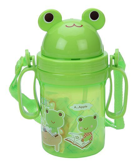 Frog Shape Lid Sipper Water Bottle Green - 400 ml