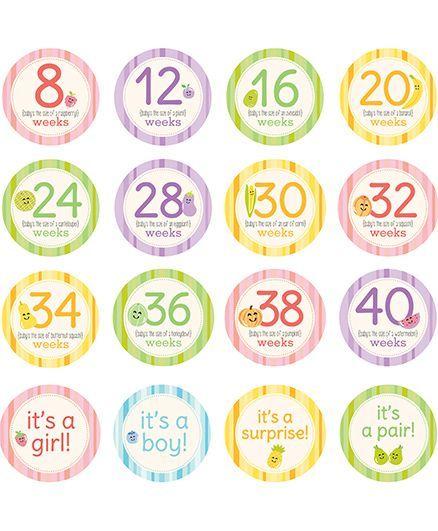 Pearhead Pregnancy Milestone Stickers Multicolor - Pack of 16