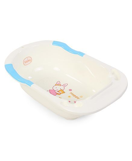 Babyhug Bath Tub Happy Print - White & Sky Blue