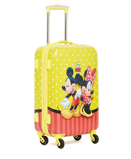 Disney Mickey Mouse Trolley Bag Minnie Print Yellow 20 Inches
