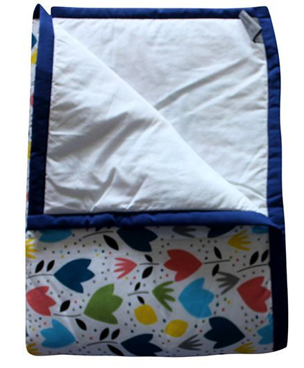 CocoBee Flowers And Leaves Printed Kids Quilt - Multi Color