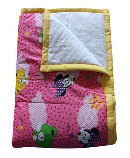 CocoBee Minnie Print Quilt Cum Comforter - Pink