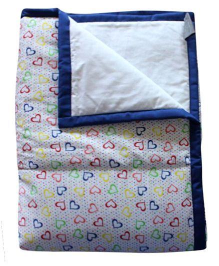 CocoBee Hearts Print Quilt Cum Comforter - White
