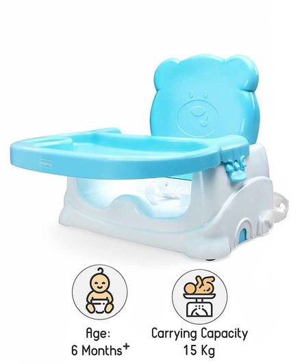 Babyhug Raise Me Up Baby Booster Seat With Adjustable Food Tray & 3 Point Safety Harness - Sky Blue White