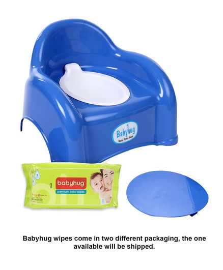 Babyhug  2 in 1 Baby Potty Cum Chair - Blue- 1 Qty And Babyhug Premium Baby Wipes - 80 Pieces- 2 Qty