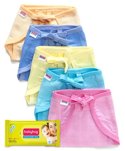Babyhug U Shape Muslin Nappy Set Lace Extra Small Pack Of 5 - Multicolor- 1 Qty and Babyhug Premium Baby Wipes - 80 Pieces- 1 Qty