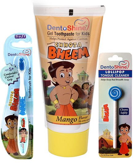 Dentoshine Chhota Bheem Gel Toothpaste For Kids - Mango Flavour and Dentoshine Chhota Bheem Lollipop Tongue Cleaner - Blue And White and Dentoshine Chhota Bheem Toothbrush For Kids - Blue