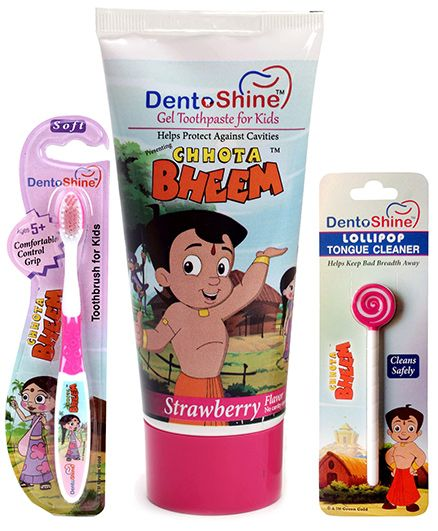 Dentoshine Chhota Bheem Gel Toothpaste For Kids - Strawberry Flavour and Dentoshine Chhota Bheem Toothbrush For Kids Soft - Pink and Dentoshine Chhota Bheem Lollipop Tongue Cleaner - Pink And White