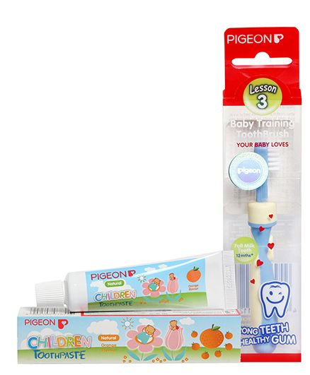 Pigeon - Baby Training ToothBrush Lesson 3 and 	Pigeon Orange Flavoured Children Toothpaste - 45 gm