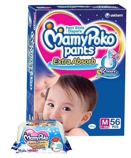Mamy Poko Extra Absorb Pant Style Diapers Medium - 56 Pieces & Mamy Poko Pure & Soft Baby Wipes With Pop Up Box & Mild Fragrance- 50 Pieces