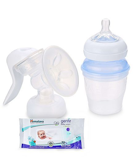 Avent - Comfort Manual Breast Pump AND Himalaya Herbal Gentle Baby Wipes 72 Pieces