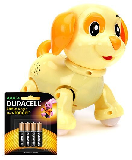 Mitashi Skykidz Pet Party Puppy - Light Yellow and  Duracell AAA Size Batteries - Pack Of 4