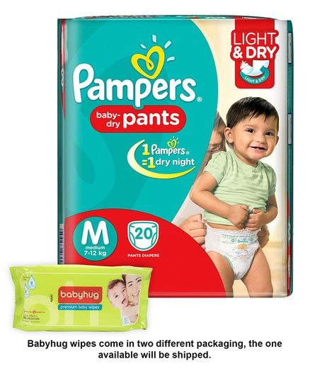Pampers Pant Style Diapers Light And Dry Medium - 20 Pieces & Babyhug Premium Baby Wipes - 80 Pieces