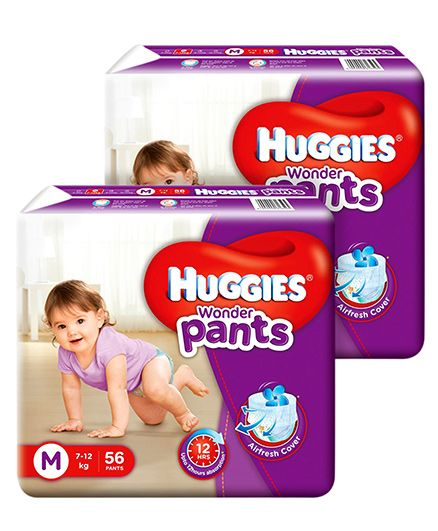 Huggies Wonder Pants Medium Size Pant Style Diapers - 56 Pieces (Pack Of 2)