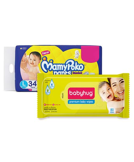 Babyhug Premium Baby Wipes - 80 Pieces AND Mamy Poko Standard Pant Style Diapers Large - 34 Pieces