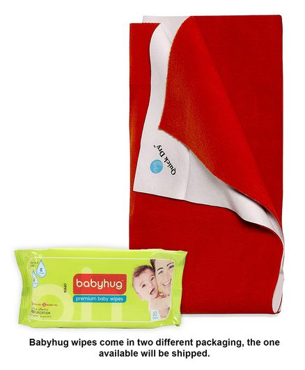 Babyhug Premium Baby Wipes - 80 Pieces AND Quick Dry Bed Protector Mat Toffee - Medium