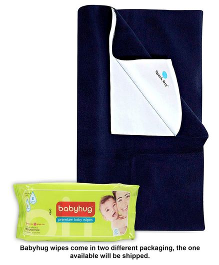 Babyhug Premium Baby Wipes - 80 Pieces AND Quick Dry Bed Protector Navy Blue - Large