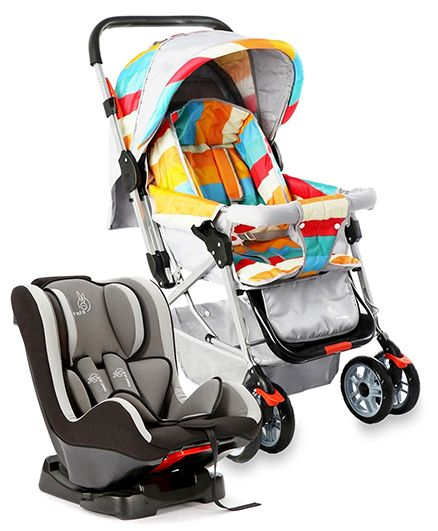 R for Rabbit The Colorful Pram Lollipop - Grey & Multicolor AND R for Rabbit Jack N Jill Convertible Car Seat