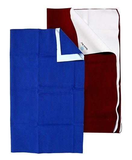 Quick Dry Plain Baby Care Sheet Cobalt Blue - Medium  AND Quick Dry Bed Protector Mat Dark Maroon - Medium