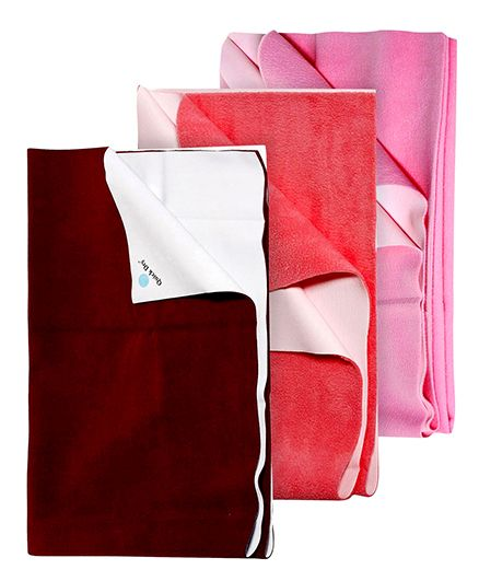 Quick Dry Bed Protector Pink - Large AND Quick Dry Bed Protector Mat Dark Maroon - Medium AND Quick Dry Bed Protector Small - Salmon Rose