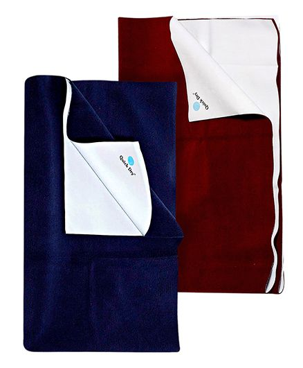 Quick Dry Bed Protector Mat Dark Maroon - Medium AND Quick Dry Bed Protector Navy Blue - Large