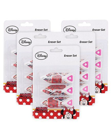 Disney Minnie Mouse Chocolate Shaped Erasers - Set of 3 -Pack of 5