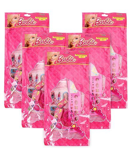 Sticker Bazaar Barbie Stationery Set Pack Of 7 - Pink -Pack of 5