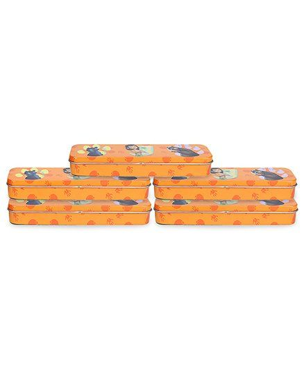 Disney Jungle Book Tin Pencil Case Thin - Orange -Pack of 5