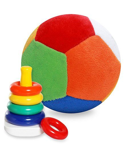 Fisher Price Rock A Stack - Multi Color and  Dimpy Stuff Colorful Soft Ball - 36 cm