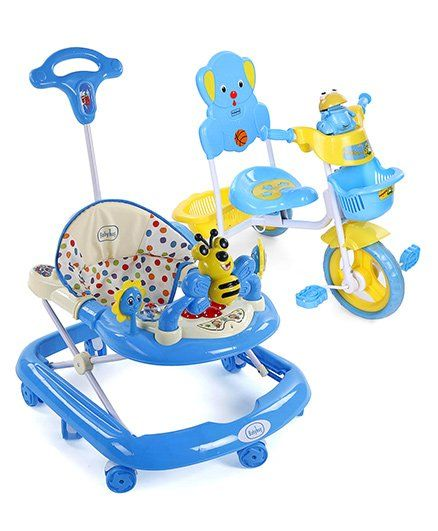 Babyhug Musical Froggy Tricycle - Blue And Babyhug Honey Bee Musical Baby Walker - Blue