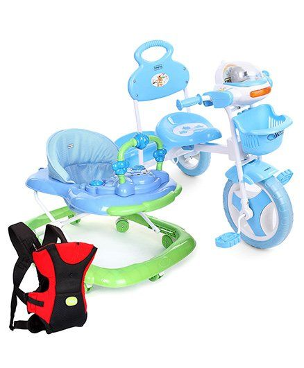 Babyhug Funride Tricycle - Blue And Babyhug My Toyfun Musical Walker - Blue AND Babyhug Kangaroo Pouch 3 Way Baby Carrier - Red & Black