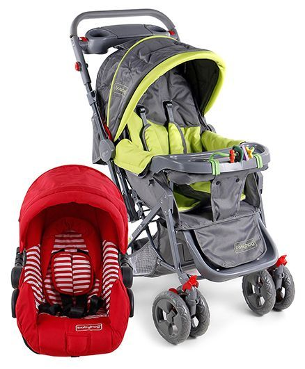 Babyhug Take Me Along Car Seat Cum Carry Cot - Red And Babyhug Elite Stroller - Green & Grey