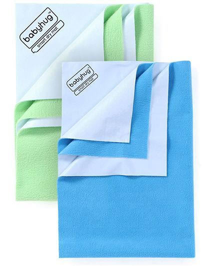 Babyhug Smart Dry Bed Protector Sheet Medium - Feeroju AND Babyhug Smart Dry Bed Protector Sheet Large - Pista Green
